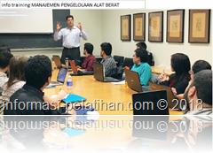 info training manajemen pengelolaan dan penanganan alat berat